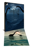 Dinosaurs Feed Near Shores of Lost City of Atlantis & Diplodocus Dinosaurs Bathe in Water Set Poster by  Stocktrek Images