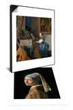 A Young Lady Seated at a Virginal, circa 1670 & Girl with a Pearl Earring, circa 1665-6 Set Prints by Jan Vermeer
