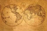 Oude wereldkaart Print