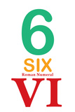 Number 6 with Roman Numeral Banner Poster
