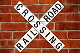 Railroad Crossing Crossbuck Brick Wall Traffic Posters