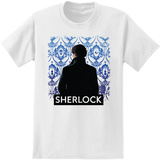 Sherlock - Portrait With Wallpaper T-shirts