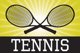 Tennis Crossed Rackets Yellow Sports Posters