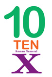 Number 10 with Roman Numeral Banner Poster