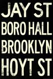New York City Brooklyn Jay St Vintage Subway Poster Print