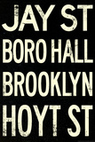 New York City Brooklyn Jay St Vintage Subway RetroMetro Poster