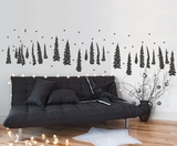 Trees In The Snow - Dark Grey Wall Decal