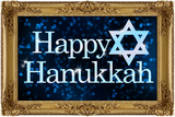 Happy Hanukkah Faux Framed Holiday Art