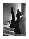 Models Wearing (From Left) Long Backless Dress with Two-Tiered Skirt by Worth Regular Photographic Print by Horst P. Horst