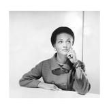 Mrs. Arturo Ramos Modeling a Givenchy Black Felt Hat Regular Photographic Print by Horst P. Horst