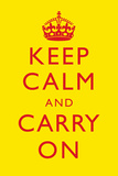Keep Calm and Carry On Motivational Yellow Art Print Poster Photo