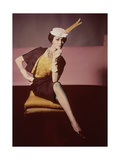 Duplicate of Model Seated on Yellow Cushion Regular Photographic Print by Horst P. Horst