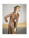 Model Wearing a Jose Martin Suit; Silk Twill in Cocoa with Black Miniature Prints Regular Photographic Print by Horst P. Horst