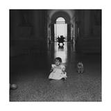 Diamente Buschetti and Her Dog in the Great Hall of the Villa Maser Regular Photographic Print by Horst P. Horst