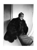 Model Wearing Cap of Wrapped Silk Jersey Bearskin Coat Regular Photographic Print by Horst P. Horst