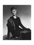 Model (Helen Bennett) Wearing a Single-Breasted Hockanum Wool Suit with Flowers in the Button Hole Regular Photographic Print by Horst P. Horst