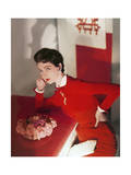 Model Wearing a Red Velvet Dress Regular Photographic Print by Horst P. Horst