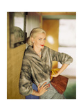 Model Wearing Short Mink Jacket with Tweed Skirt Regular Photographic Print by Horst P. Horst