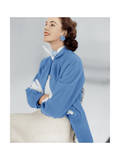 Model Wearing Stroock Fleece Turquoise Shirt Coat with Shirttails Regular Photographic Print by Horst P. Horst