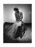 Model Wearing Floor-Length Faille Gown with Twisted-Bandeau Bodice Regular Photographic Print by Horst P. Horst