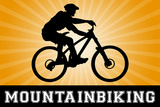 Mountain Biking Orange Sports Poster Print Posters