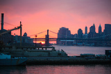 Downtown New York City Brooklyn Bridge Sunset Photo Print Poster Print