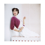 Model Wearing Magenta-Colored Bolero Sweater by Evelyn Gates Regular Photographic Print by Horst P. Horst