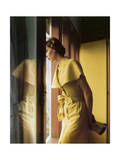 Model Wearing a Gold Cape Collared Tootal Linen Summer Dress Regular Photographic Print by Horst P. Horst