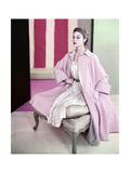 Model Jean Patchett Wearing Pale Pink Poodle Coat over Dress of Pleated Silk Shantung Premium Giclee Print by Horst P. Horst