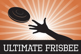 Ultimate Frisbee Orange Sports Poster Print Prints