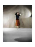 Model Wearing Burnt Umber Velvet Dress Together with Black Jersey Top from Leslie Morris Regular Photographic Print by Horst P. Horst
