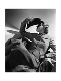 Woman Modeling a Striped-Tweed Suit from Kinze with a Checked Jacket over a Chair Regular Giclee Print by Horst P. Horst