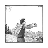 Frankenstein's monster walks with a solar panel on his back. - New Yorker Cartoon Premium Giclee Print by Harry Bliss
