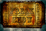 Freak Show Ticket 5 Plastic Sign