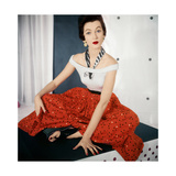 Model Wearing Scoop-Necked Sleeveless Sweater by Nelly De Grab Regular Photographic Print by Horst P. Horst