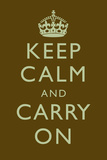 Keep Calm and Carry On Motivational Dark Brown Art Print Poster Poster