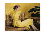 Model Wearing a Gold Two Part Dress of Cohama Silk Shantung Regular Photographic Print by Horst P. Horst