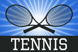 Tennis Crossed Rackets Blue Sports Poster Print Posters