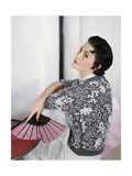 Model Mary Jane Russell Wearing Floral-Print Cardigan by Louis Pearlman Regular Photographic Print by Horst P. Horst