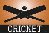 Cricket Orange Sports Poster Print Posters