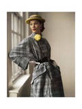 Model Wearing Gold Barrel Wool Tweed Full Coat with Huge Pocket Panels by Willi Regular Photographic Print by Horst P. Horst