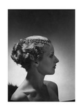 Model Wearing String of Diamonds by Cartier Running Along Hairline Part Regular Photographic Print by Horst P. Horst