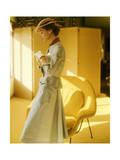 Model Wearing a Gold Silk Taffeta Velvet Buttoned Suit Regular Photographic Print by Horst P. Horst