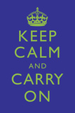 Keep Calm and Carry On Motivational Deep Blue Art Print Poster Posters