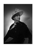 Model Wearing Wide-Brimmed Bonnet by Agnes Regular Photographic Print by Horst P. Horst