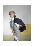 Model Wearing a Suede Finish Botany Wool Brown Jacket and a Miron Worsted Checked Flannel Dress Premium Giclee Print by Horst P. Horst