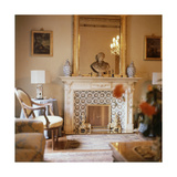 The Florentine Sitting Room of Marchesa Christina Pucci with Tiled Fireplace Regular Photographic Print by Horst P. Horst