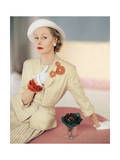 Model Wearing a Silk Cream Suit Regular Photographic Print by Horst P. Horst