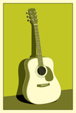 Acoustic Guitar Green Music Poster Print Art