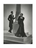 Model Wearing Long-Sleeved Sheer Black Dress over Satin Slip Regular Photographic Print by Horst P. Horst
